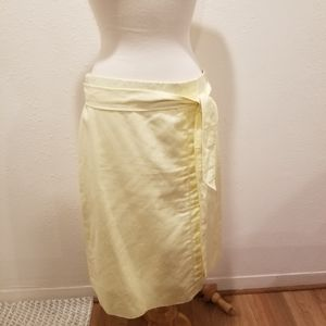 Ann Taylor yellow skirt with tie waist,  size 10